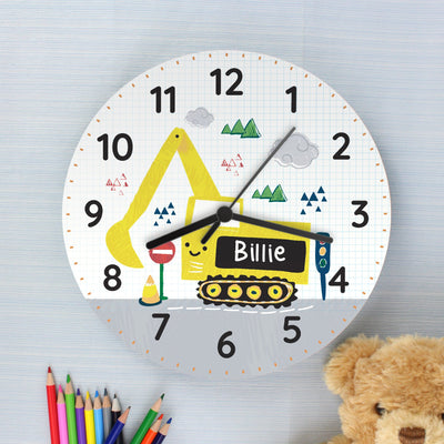 Personalised Digger Wooden Clock - Personalised Books-Personalised Gifts-Baby Gifts-Kids Books