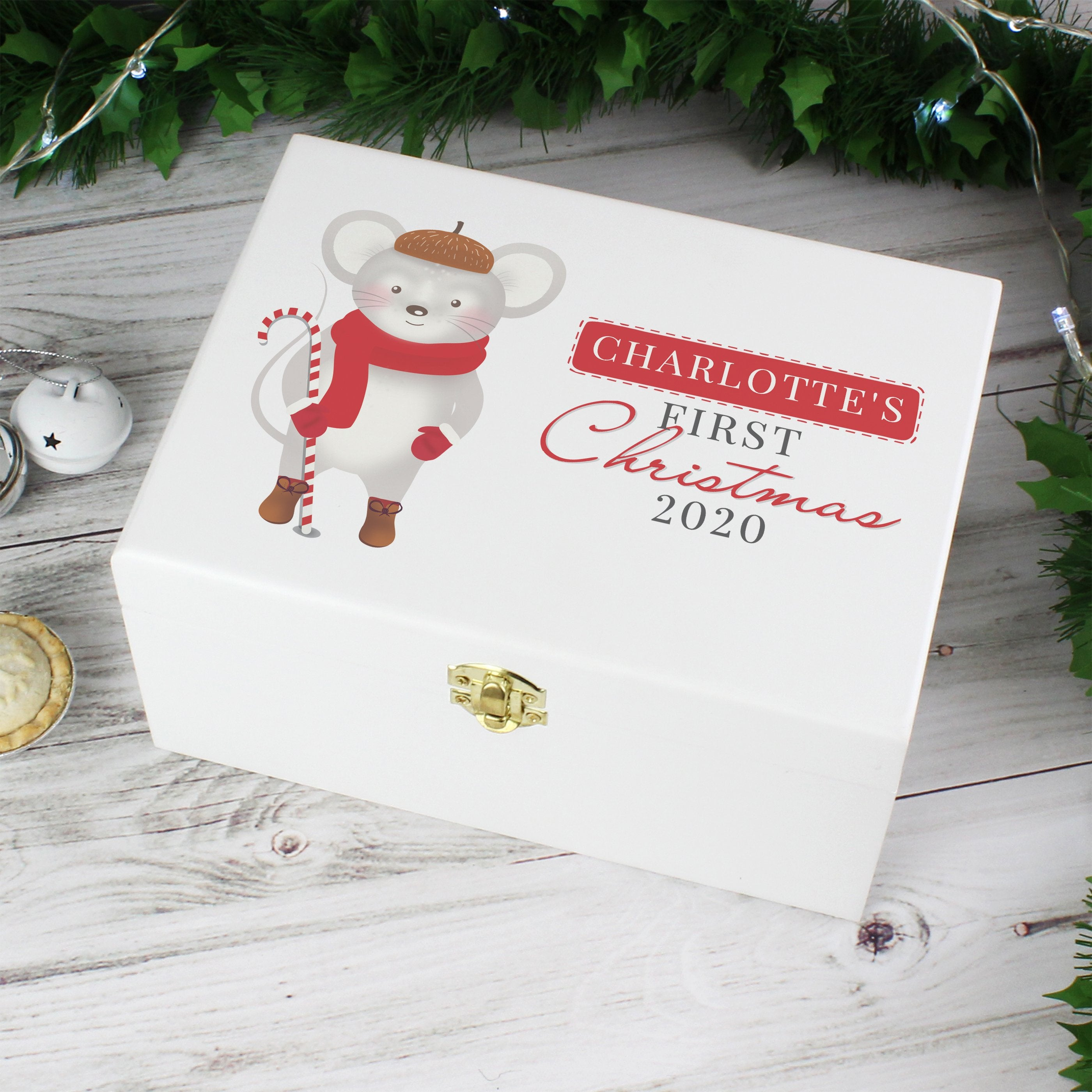 Personalised '1st Christmas' Mouse White Wooden Christmas Eve Box - Shop Personalised Gifts