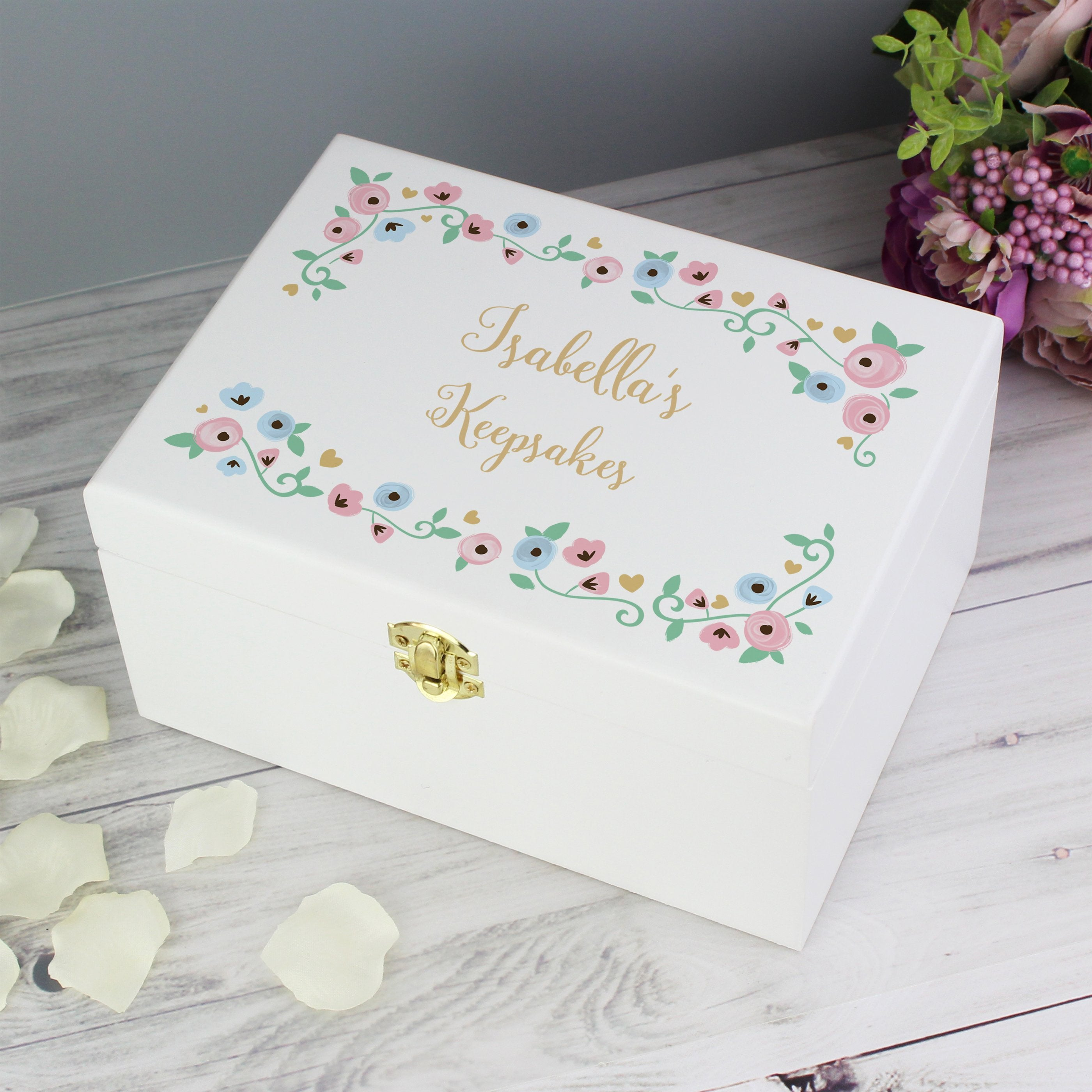 Personalised Fairytale Floral White Wooden Keepsake Box - Shop Personalised Gifts (4859076804694)