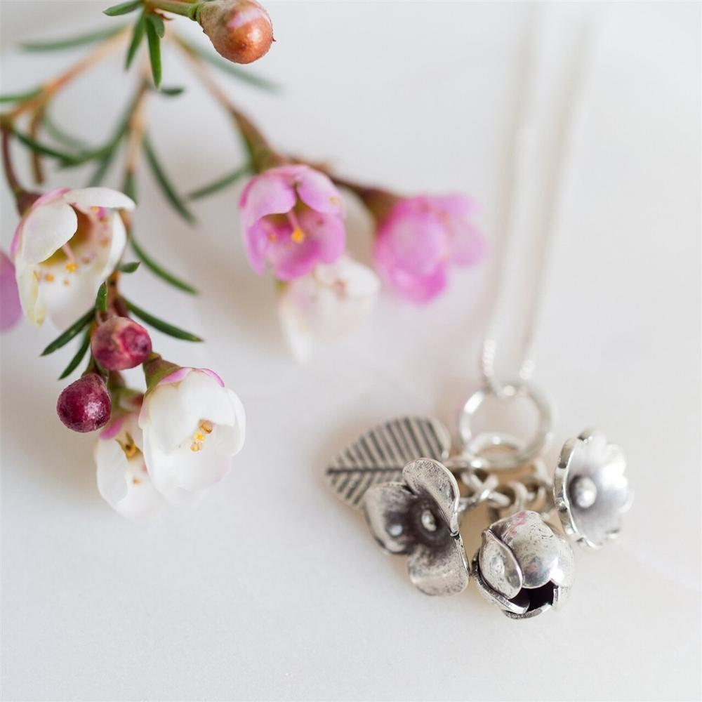 Sterling Silver Flower Bouquet Necklace - Shop Personalised Gifts