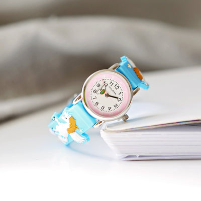 Kids Personalised Girls 3D Unicorn Watch - Light Blue - Shop Personalised Gifts