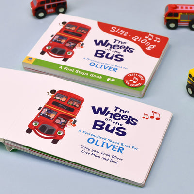 Personalised Wheels on the Bus Sound Board Book - Personalised Books-Personalised Gifts-Baby Gifts-Kids Books