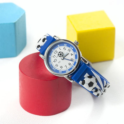 Kids Personalised Boys Blue Football Watch - shop-personalised-gifts