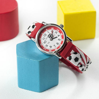 Kids Personalised Boys - Girls Red Football Watch - shop-personalised-gifts