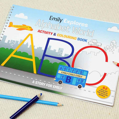 Alphabet World Personalised Colouring Book - Personalised Books-Personalised Gifts-Baby Gifts-Kids Books