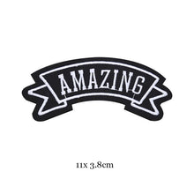 Load image into Gallery viewer, 1pc Black White Biker Patches for Clothes Iron on Clothing Letter Appliques Skull Star Stripes Embroidered Sticker Round Badge