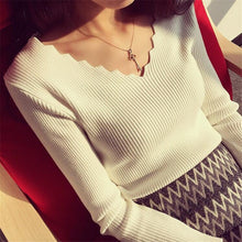 Load image into Gallery viewer, Fashion Autumn Women V-neck Long-sleeve Knitted Sweater Female Jumper Pullover Solid Basic Elasticity Women Clothing Pull Femme
