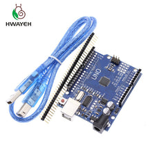 Load image into Gallery viewer, HWAYEH high quality One set UNO R3 CH340G+MEGA328P Chip 16Mhz For Arduino UNO R3 Development board + USB CABLE