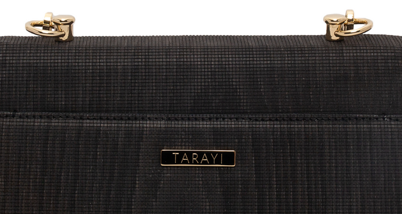 Lana maxi crossbody bag by Tarayi Paris - zoom in on metal plate