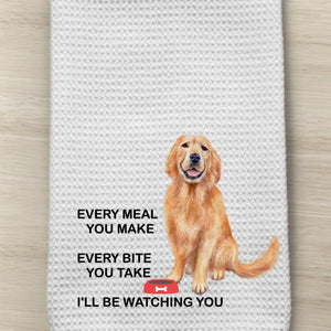 Golden Waffle Weave Kitchen Towel with saying