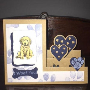 "Homemade ""I Woof You"" Golden Puppy Card"