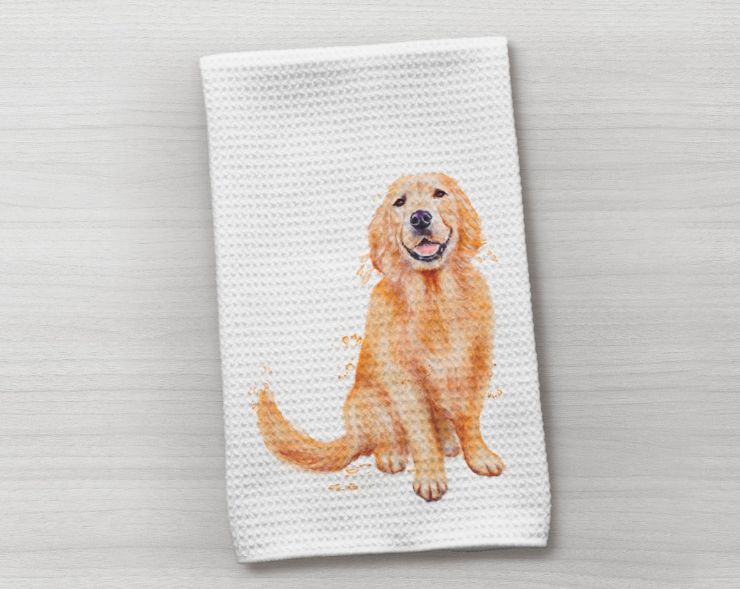 Golden Waffle Weave Dish Towel