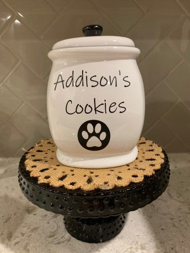 Large Ceramic Black and White Dog Treat Jar Customized.