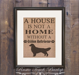 Golden Retriever Burlap Print