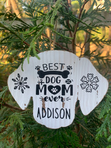 Customizable Dog Head Wood Ornament with
