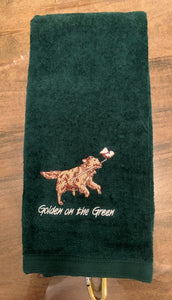 Golden on the Green Golf Towel