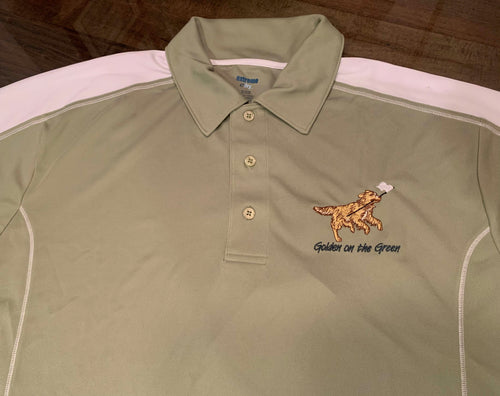 Extreme Dry Golden on the Green Golf Shirt Green and White SIZE LARGE