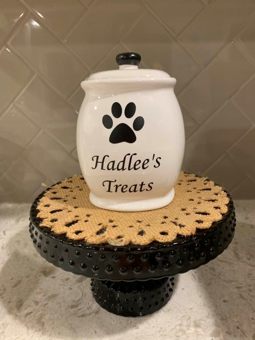 Medium Ceramic Black and White Treat Jar Customized