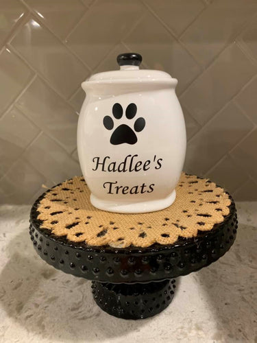Small Ceramic Black and White Treat Jar CUSTOMIZED