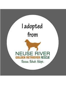 "Large Car, Refrigerator, Locker Magnet ""I adopted from Neuse River Golden Retriever Rescue"""