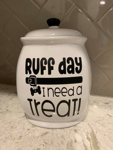 "Ceramic Black and White ""It's Been a Ruff Day...I Need a Treat"" Cookie Jar"