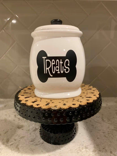 Medium Ceramic Black and White Treat Jar PICK A DESIGN