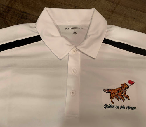 Golden on the Green Golf Shirt-Port Authority White with Black Detail