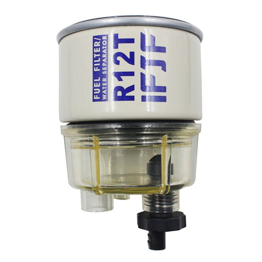 Automotive Replacement Filter and Nylon Collection Bowl of R12T Fuel Filter/Water Separator 120AT NPT ZG1/4-19 Replacement Element fit Diesel Engine