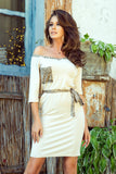 278-2 Dress with a pocket - beige + panther