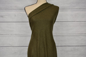 JANELLE--STRETCH FLEECE--HEATHERED OLIVE--BABY SKIN SOFT