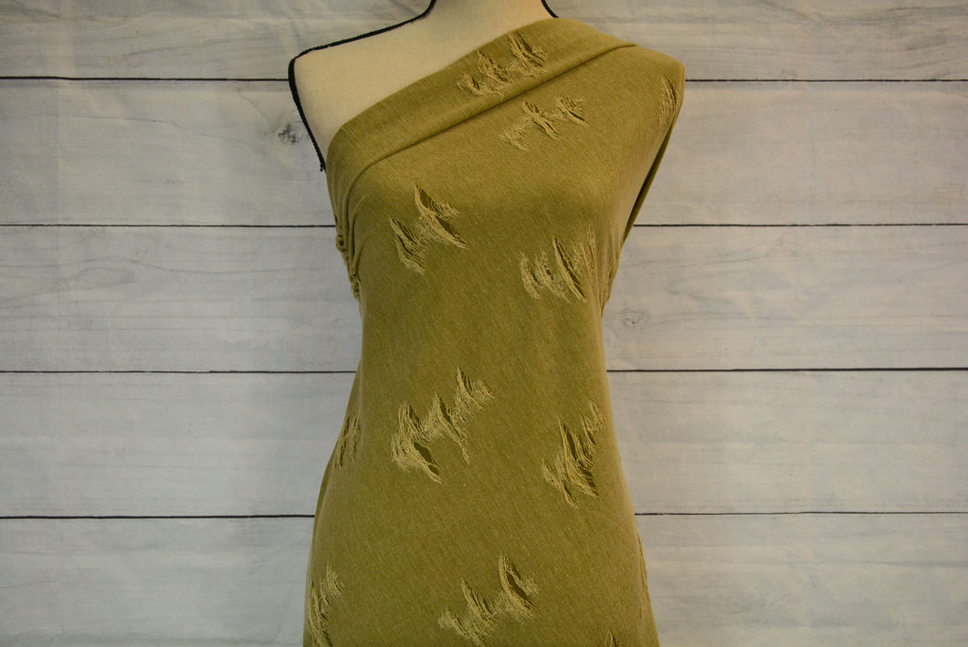 LOTTIE--DISTRESSED KNIT--LIGHT OLIVE