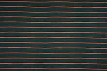 Load image into Gallery viewer, MICHELE--FRENCH TERRY--HUNTER GREEN WITH CORAL AND BROWN STRIPES