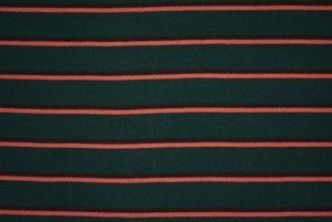 MICHELE--FRENCH TERRY--HUNTER GREEN WITH CORAL AND BROWN STRIPES