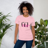 t shirt message femme fatale rose