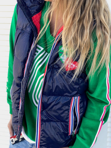 Retro Love Puffer Vest Navy