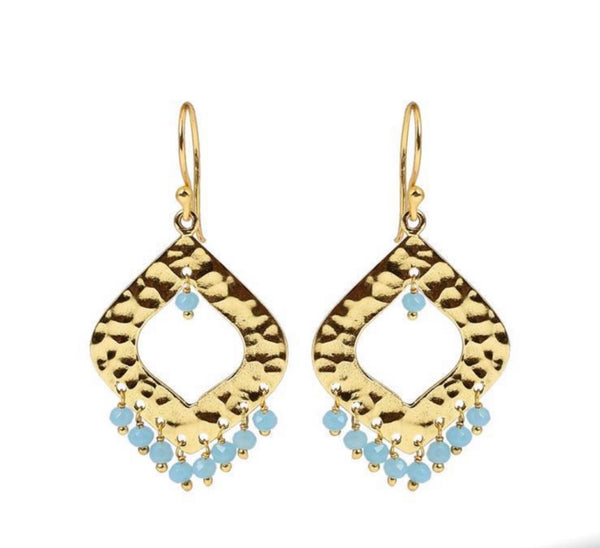 Grace Earring Yellow gold with Aqua