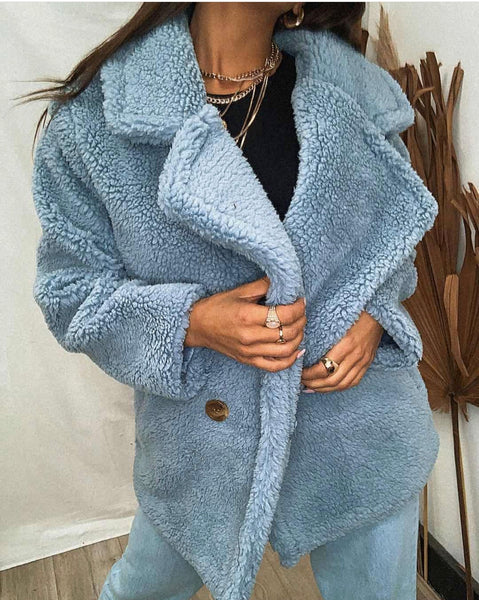 Lottie Teddy Jacket in Powder Blue