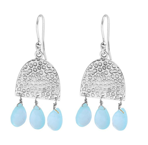Mila Earring Silver with Aqua Beads