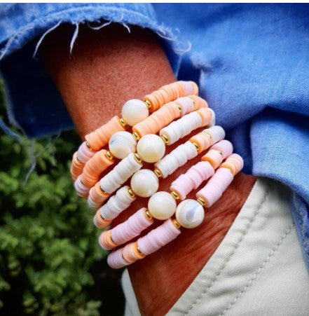 PEACH boho Pearl Friendship Bracelet