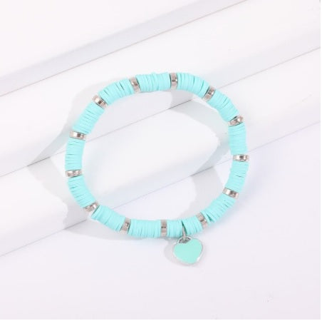 Love Heart Friendship Bracelet in Aqua