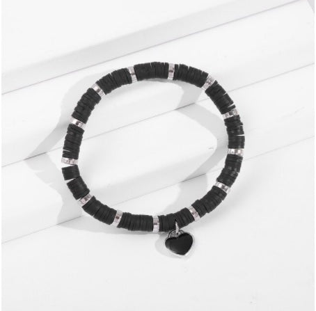 Love Heart Friendship Bracelet in Black