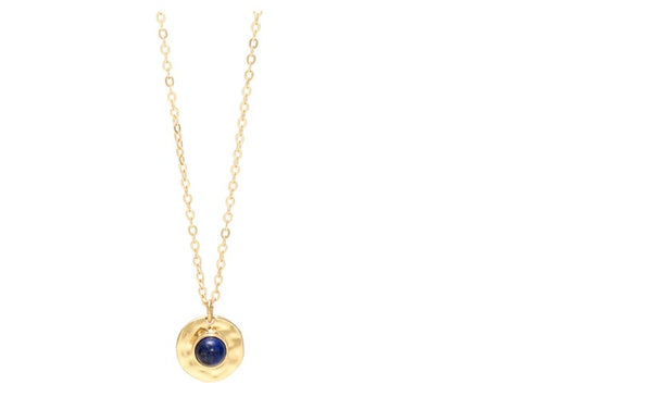 Lia Disc Pendant Necklace-gold with Navy