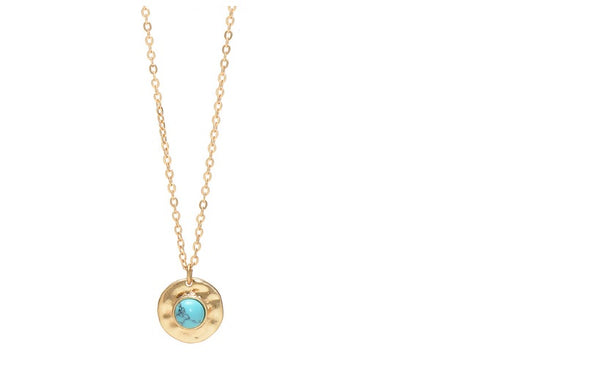 Lia Disc Pendant Necklace-gold with turquoise