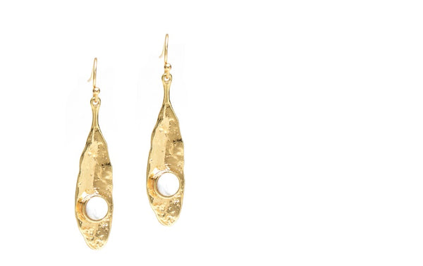 Zara Drop Earring Gold with White
