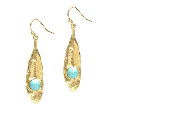 Zara Drop Earring Gold with Turquoise