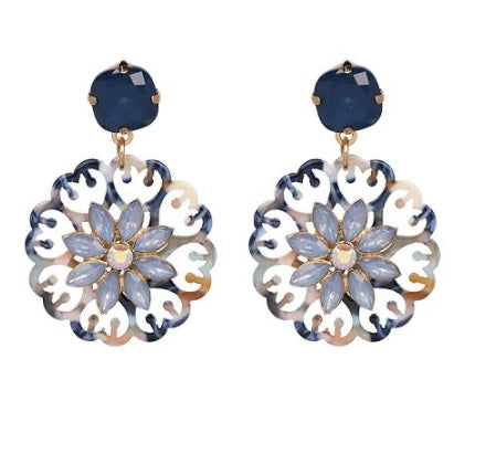 Navy Resin Flower Earring