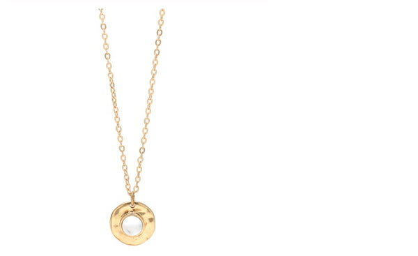 Lia Disc Pendant Necklace-gold with white