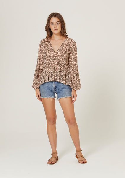 Nomad Helena Blouse in Tan by Auguste