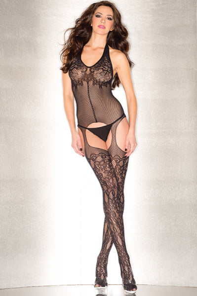 Plunging Floral Fishnet Suspender Bodystocking O-S