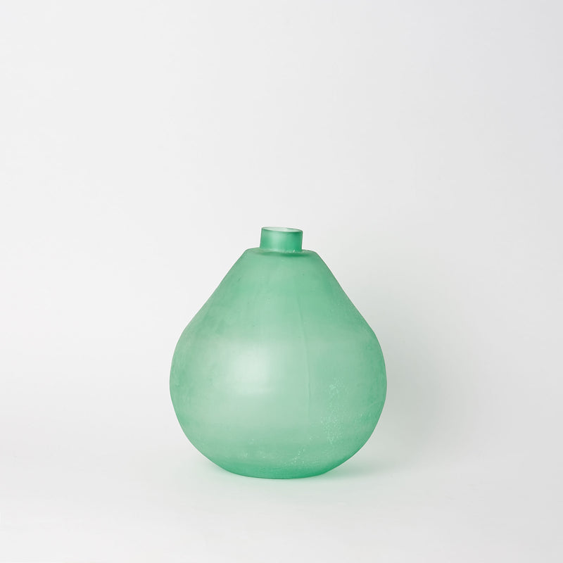 Green Sea Glass Bottle - Short